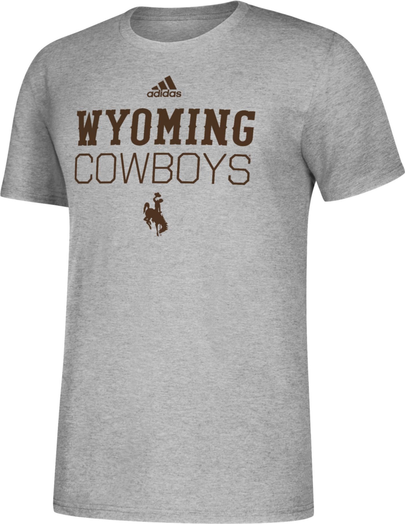 adidas Men's Wyoming Cowboys Grey Amplifier Performance T-Shirt