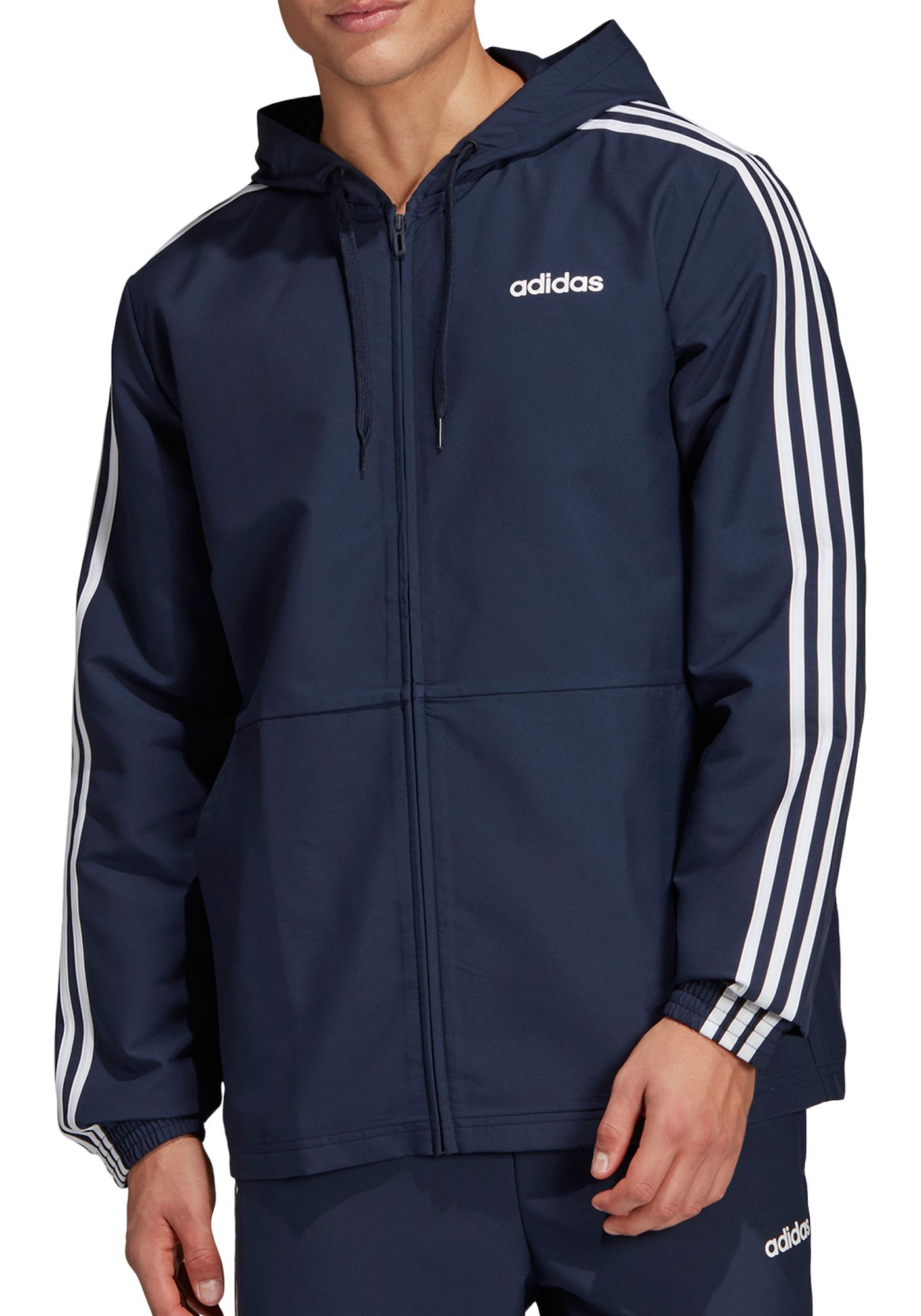 adidas Men's Essentials 3-Stripes Woven Windbreaker Jacket (Regular and Big & Tall)