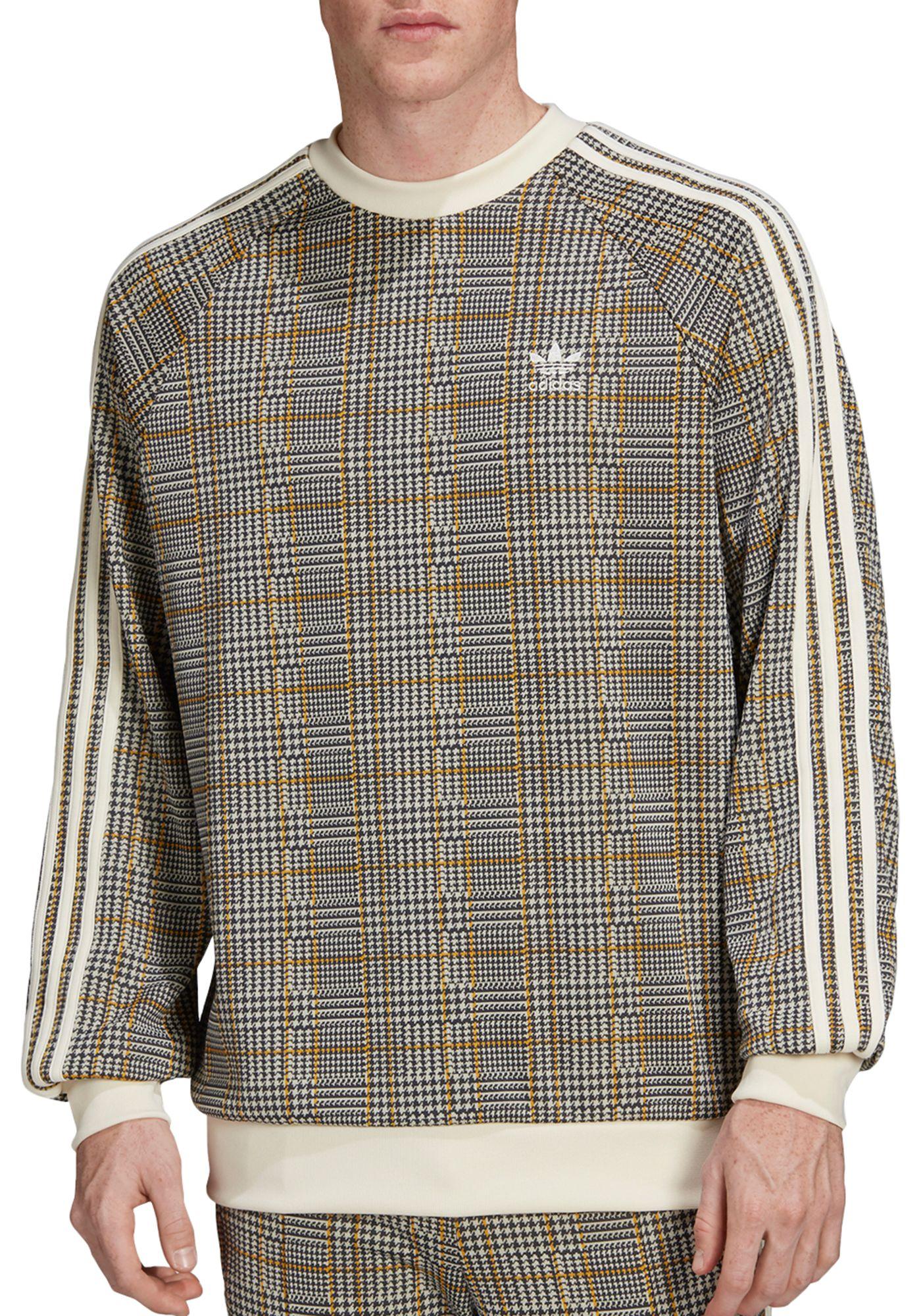 adidas Originals Men's Tartan Crewneck Sweatshirt