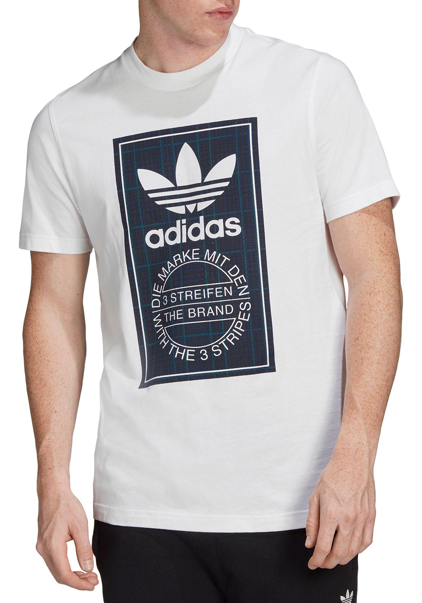 adidas Originals Men's Tartan Tongue Label T-Shirt