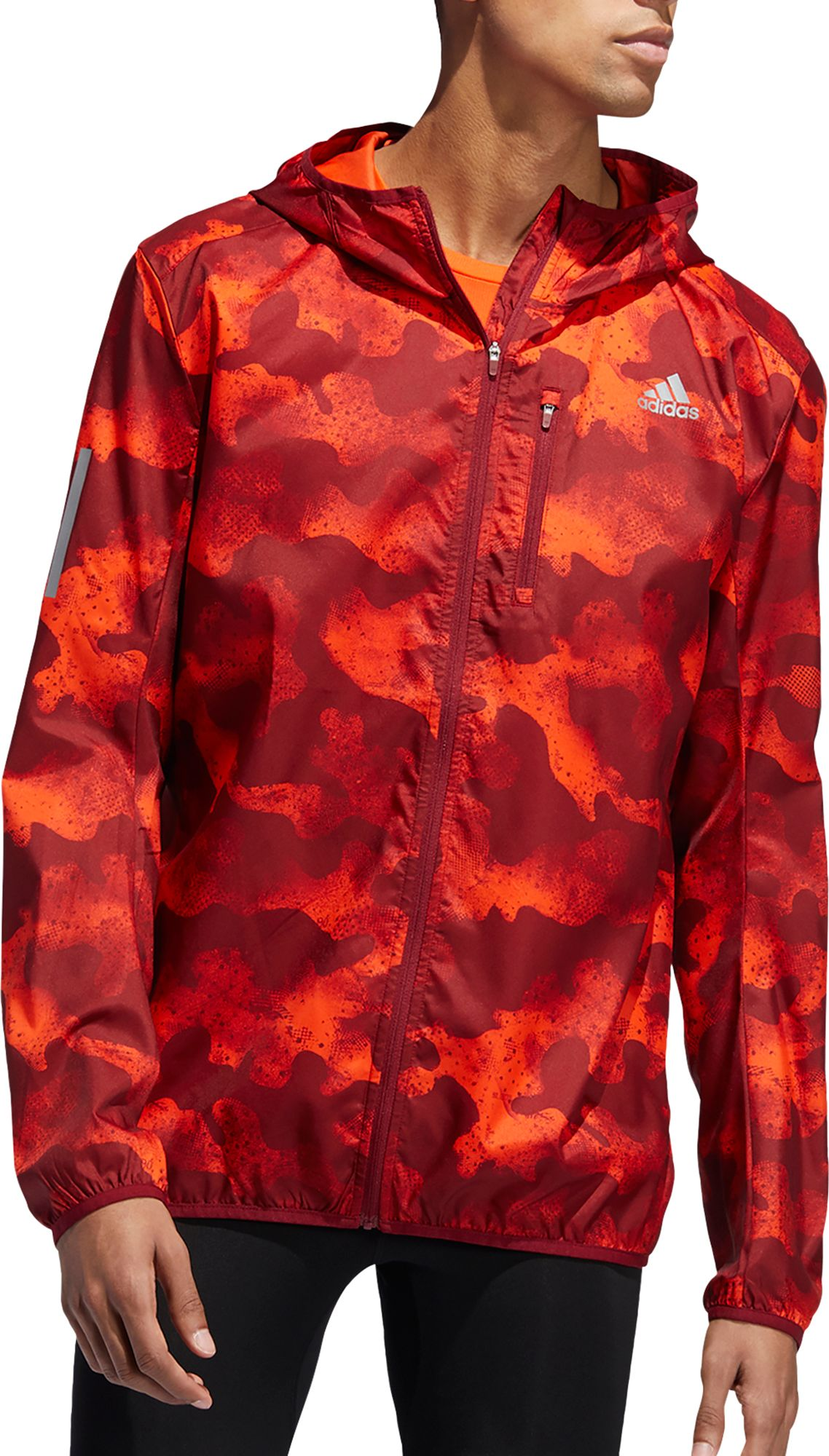 adidas Men's Own The Run Camouflage Running Jacket, Small, Activ Org/act Mrn/col Bur