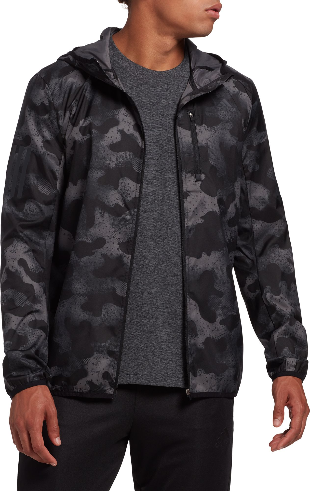 adidas Men's Own The Run Camouflage Running Jacket, Size: Small, Gray