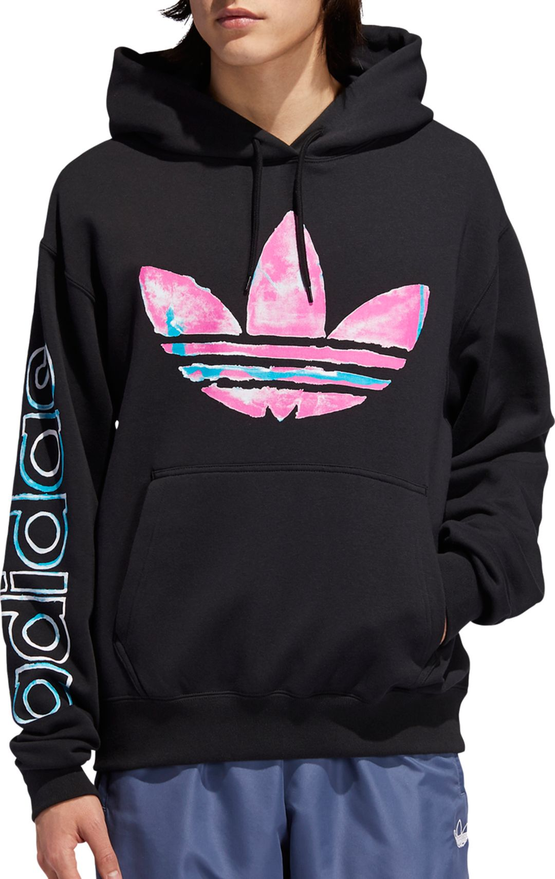 undefeated x new specials on feet shots of adidas Originals Men's Watercolor Trefoil Hoodie