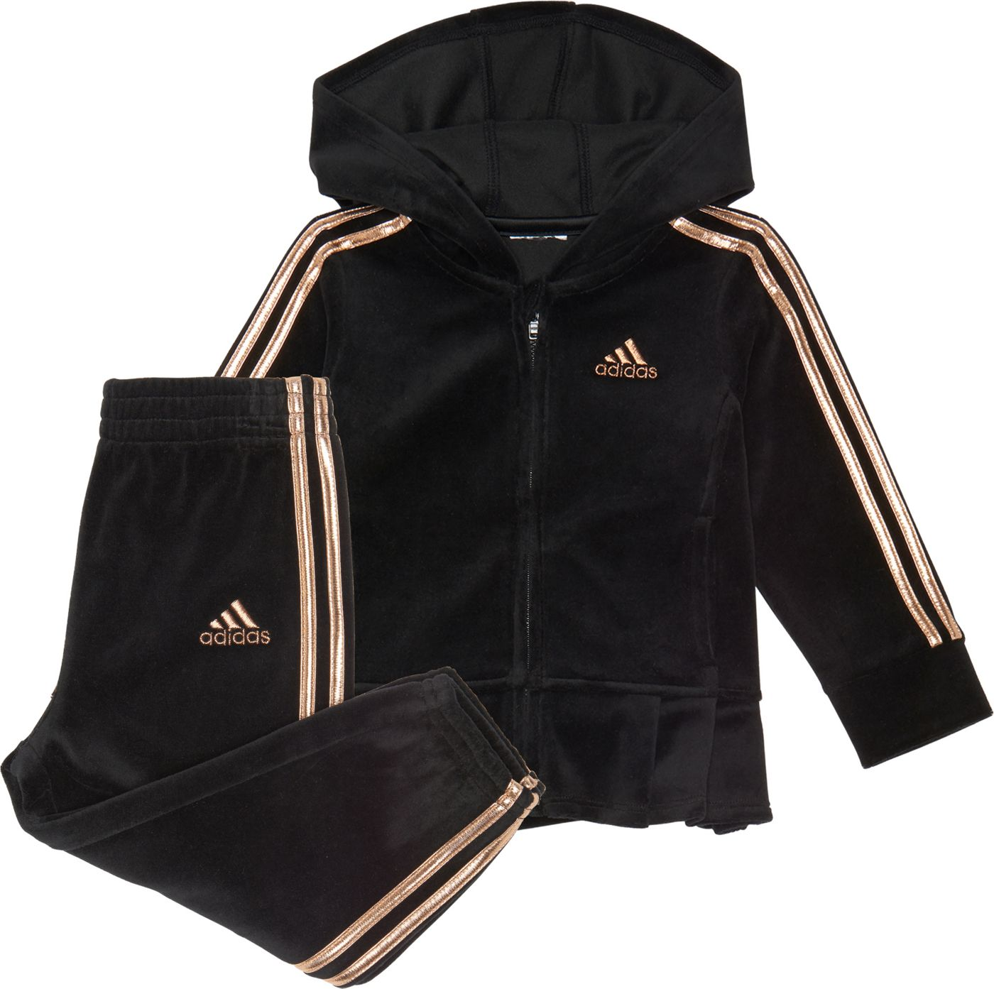 adidas Little Girls' Zip Front Velour Pleated Jacket and Pants Set