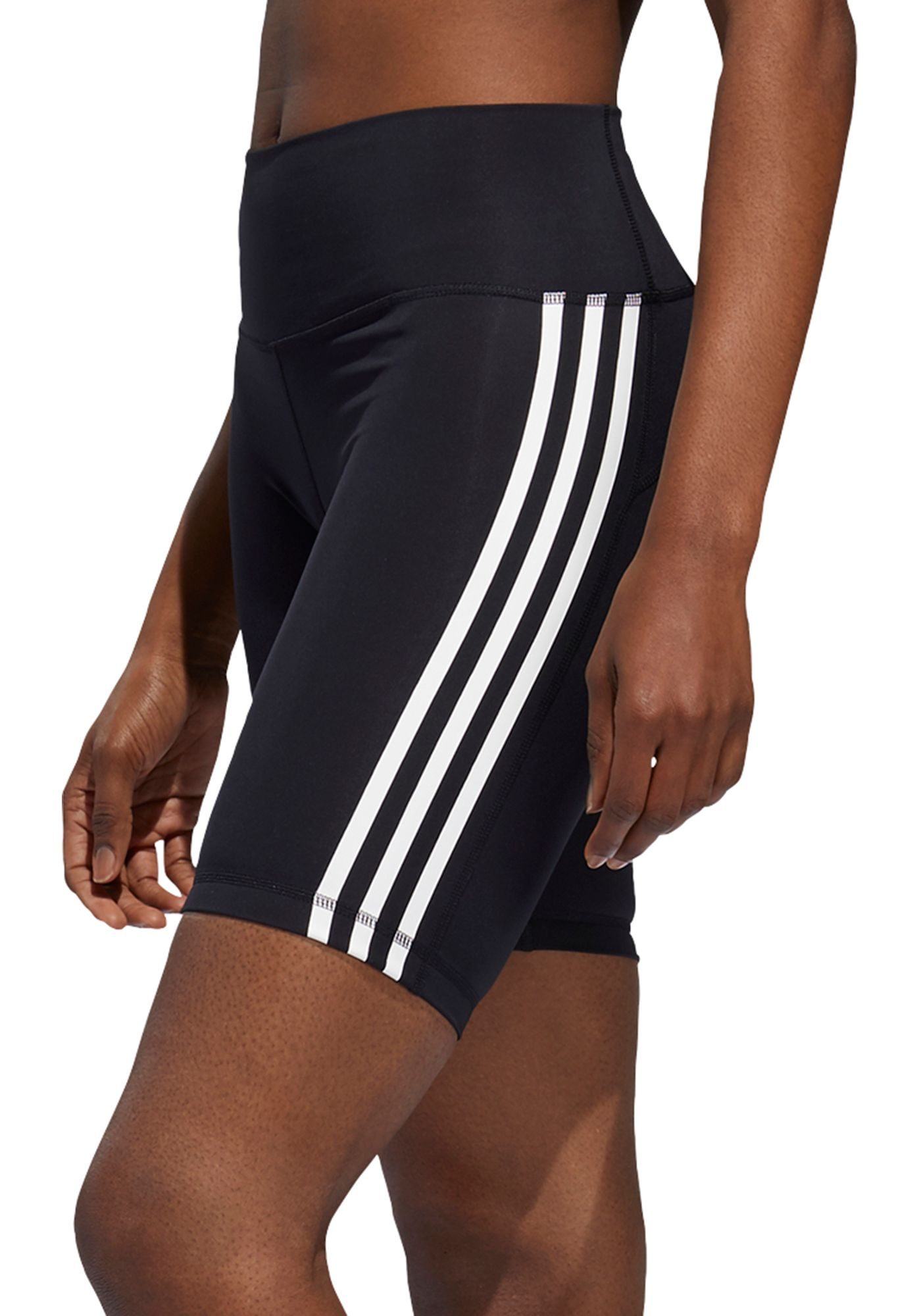 adidas Women's Believe This High Rise 3 Stripe Biker Shorts