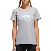 adidas Women's Camo Badge Of Sport Logo Graphic T-Shirt