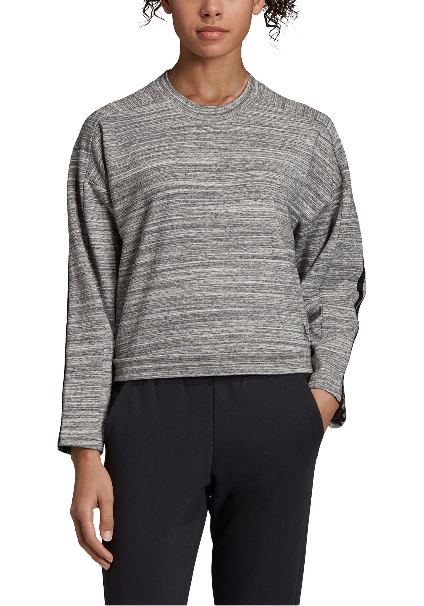 adidas Women's Must Haves Heather Crew Neck Sweatshirt