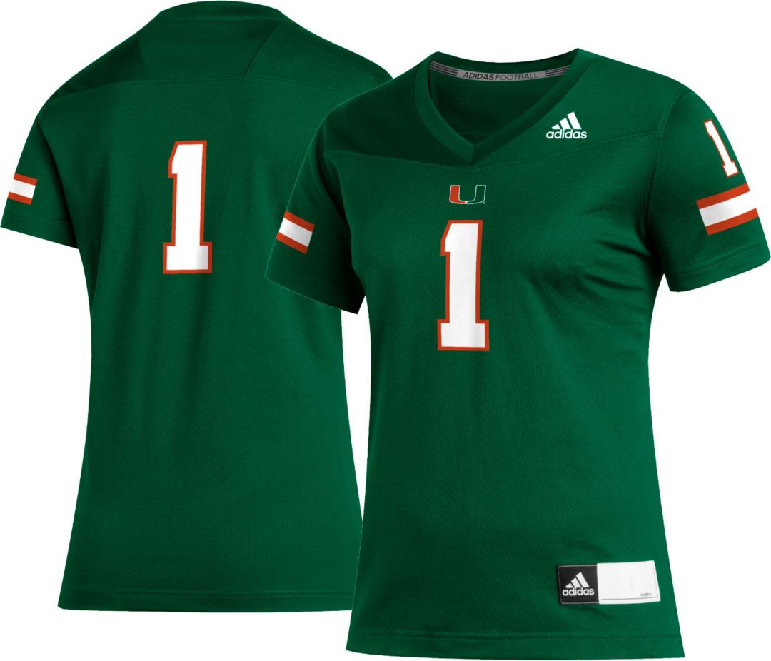sports shoes 1b7b5 e53c1 adidas Women's Miami Hurricanes #1 Green Replica Football Jersey
