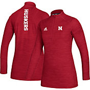 adidas Women's Nebraska Cornhuskers Scarlet Game Mode Sideline Quarter-Zip Performance Shirt
