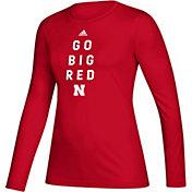 adidas Women's Nebraska Cornhuskers Scarlet Locker Slogan Long Sleeve T-Shirt