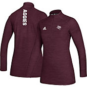 adidas Women's Texas A&M Aggies Maroon Game Mode Sideline Quarter-Zip Performance Shirt