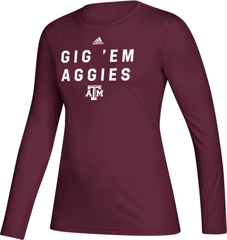 adidas Women's Texas A&M Aggies Maroon Locker Slogan Long Sleeve T-Shirt