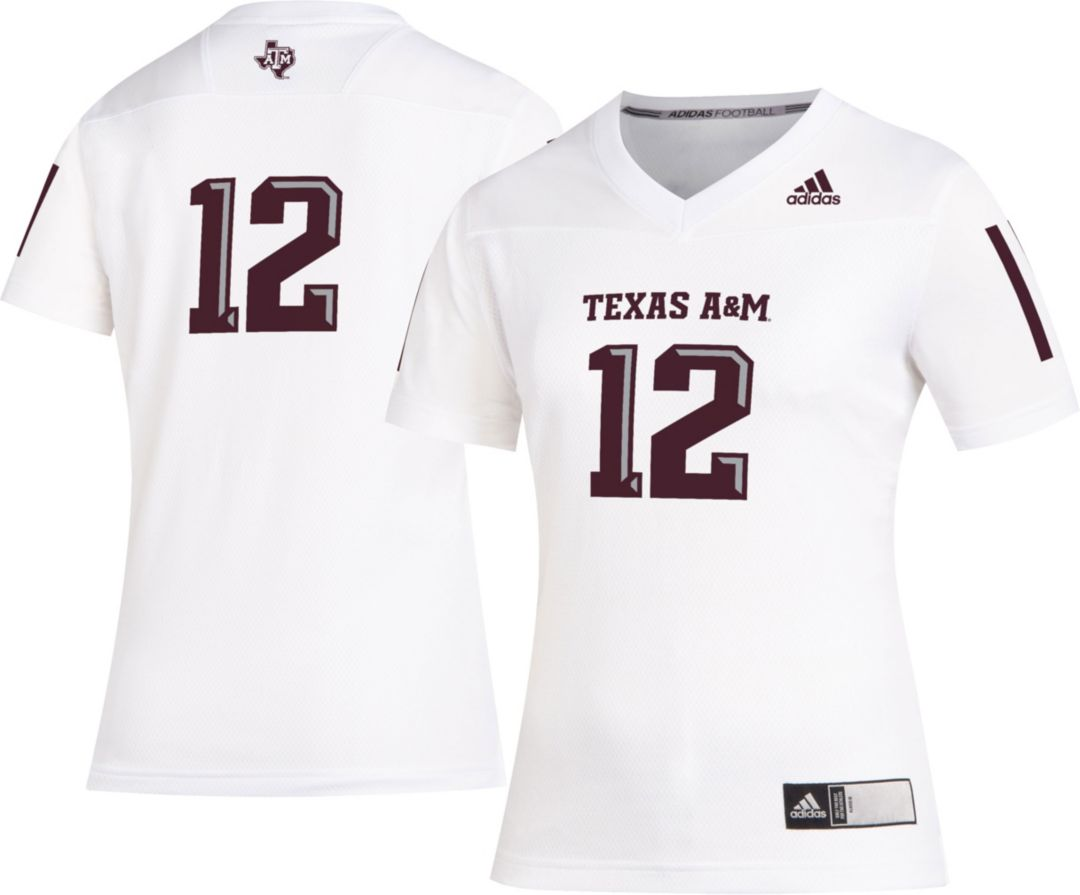 release date 3e29f 44ac5 adidas Women's Texas A&M Aggies #12 Replica Football White Jersey