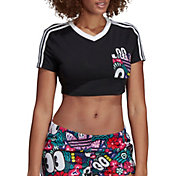adidas Originals Women's 3-Stripes Cropped Scribble Print T-Shirt