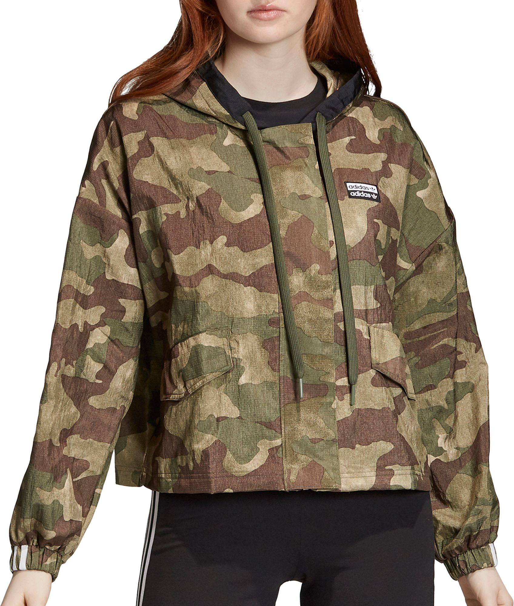 adidas Originals Women's Vocal Camo Windbreaker Jacket, Small, Green