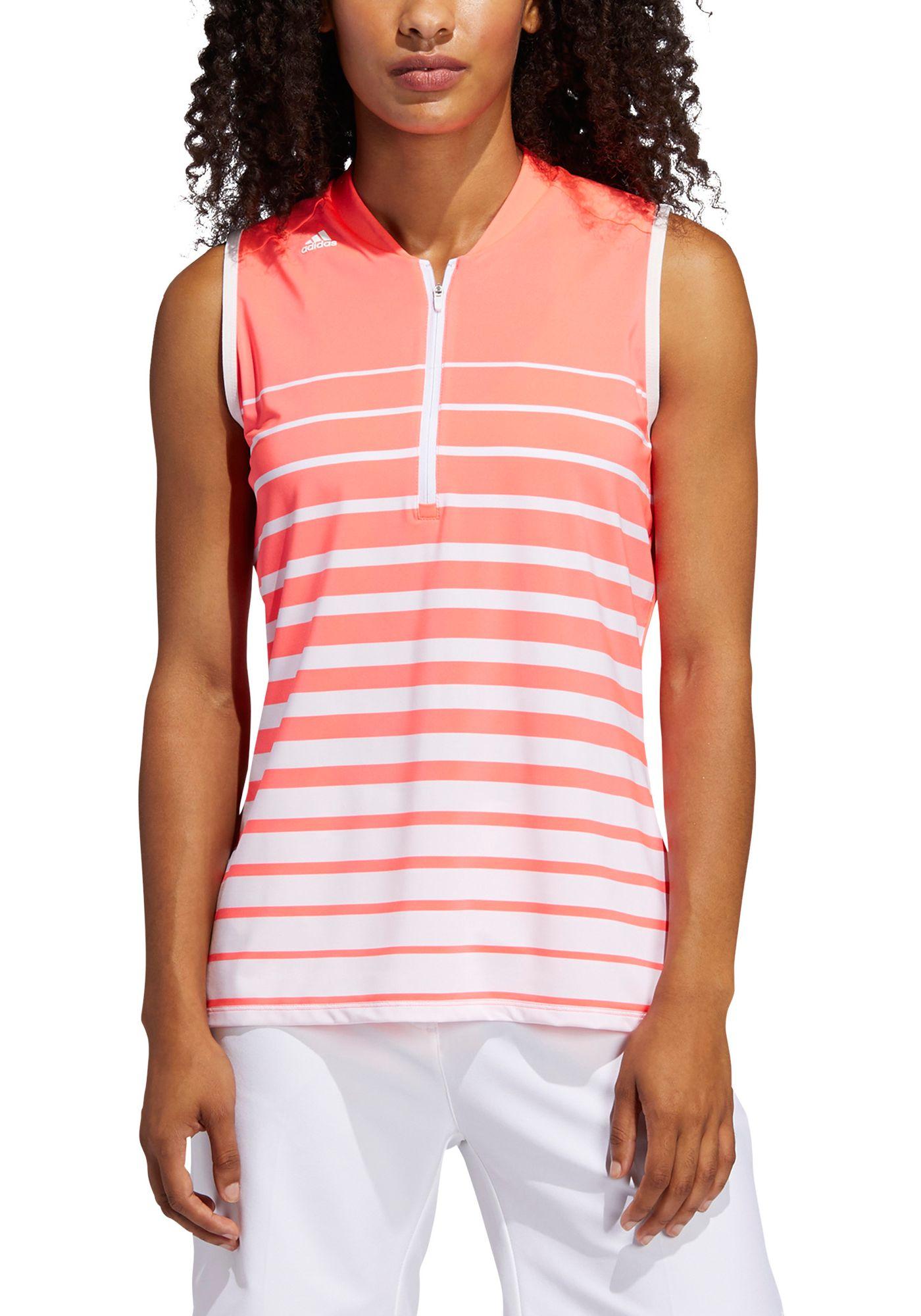 adidas Women's Engineered Stripe Sleeveless Golf Polo