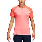 adidas Women's Colorblocked Heathered Short Sleeve Golf Polo