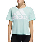 adidas Women's Essentials Oversized Logo Graphic Cropped T-Shirt