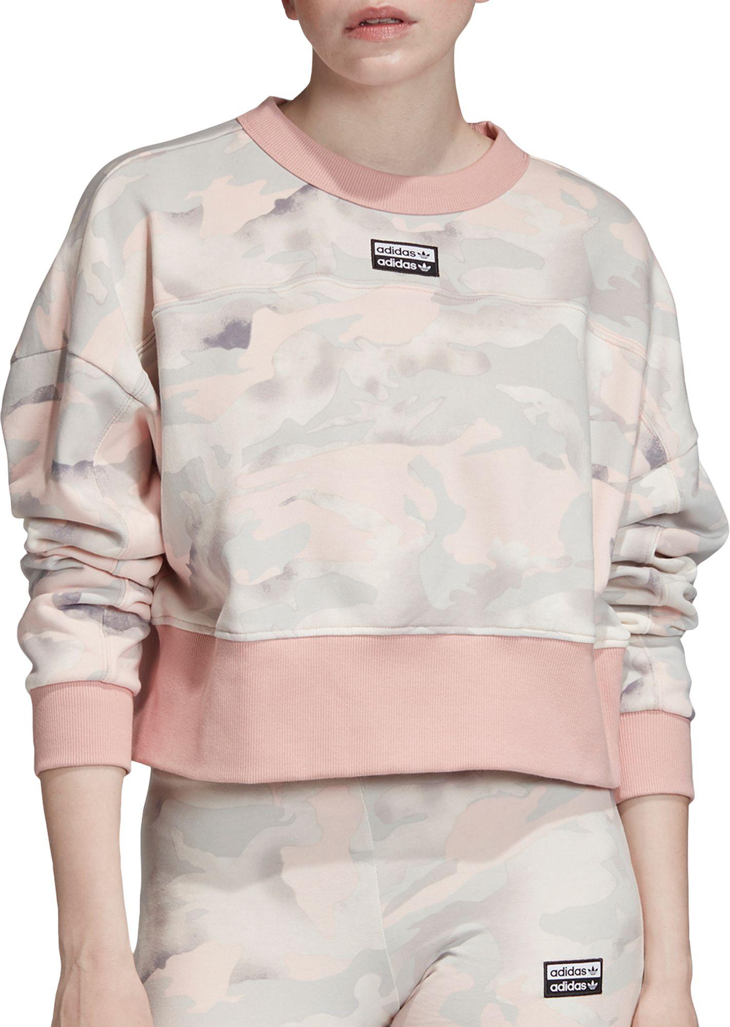 adidas Originals Women's Vocal Camo Cropped Crewneck Sweatshirt, Large, White