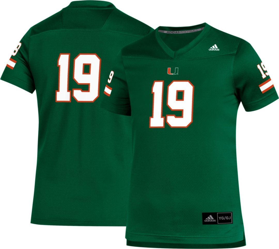 the latest 38ac4 6727c adidas Youth Miami Hurricanes #19 Green Replica Football Jersey