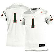 adidas Youth Miami Hurricanes #1 White Replica Football Jersey