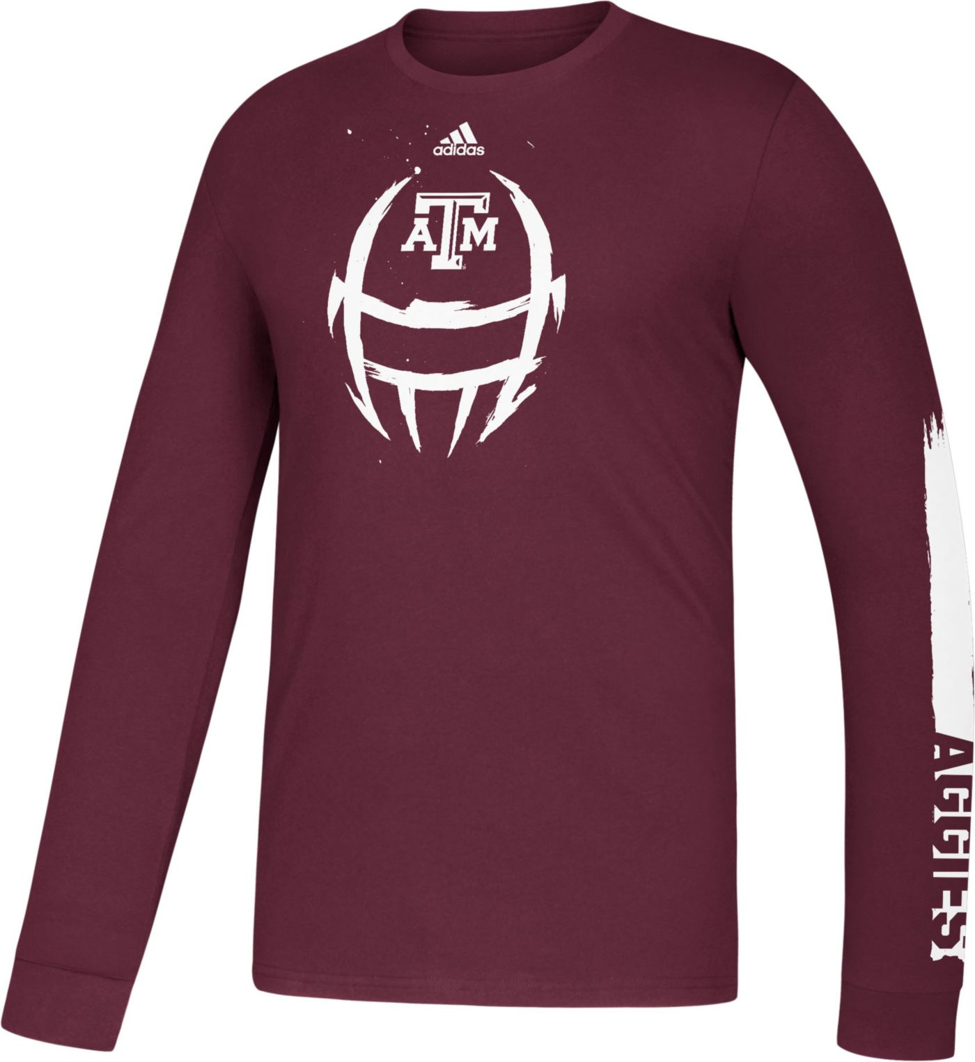 adidas Youth Texas A&M Aggies Maroon Locker Football Helmet Long Sleeve T-Shirt