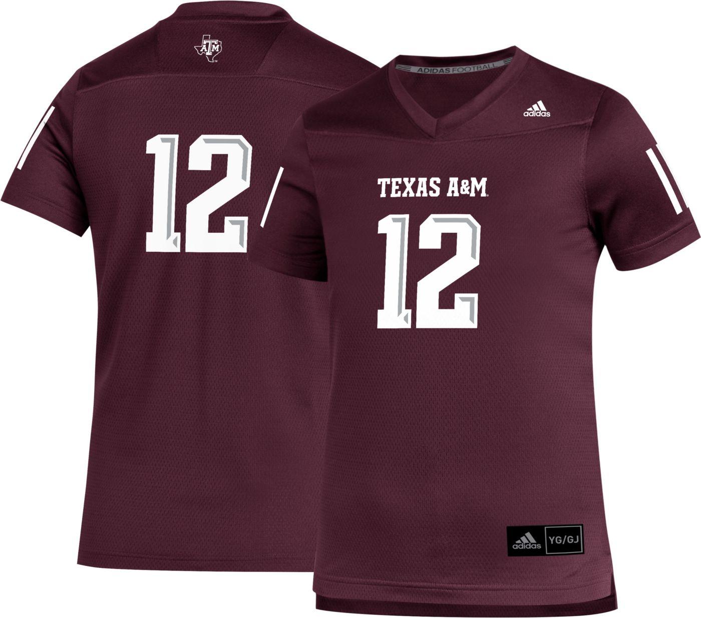 adidas Youth Texas A&M Aggies #12 Maroon Replica Football Jersey