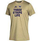 adidas Youth Washington Huskies Gold Climatech Locker 'Three Stripe Life' T-Shirt
