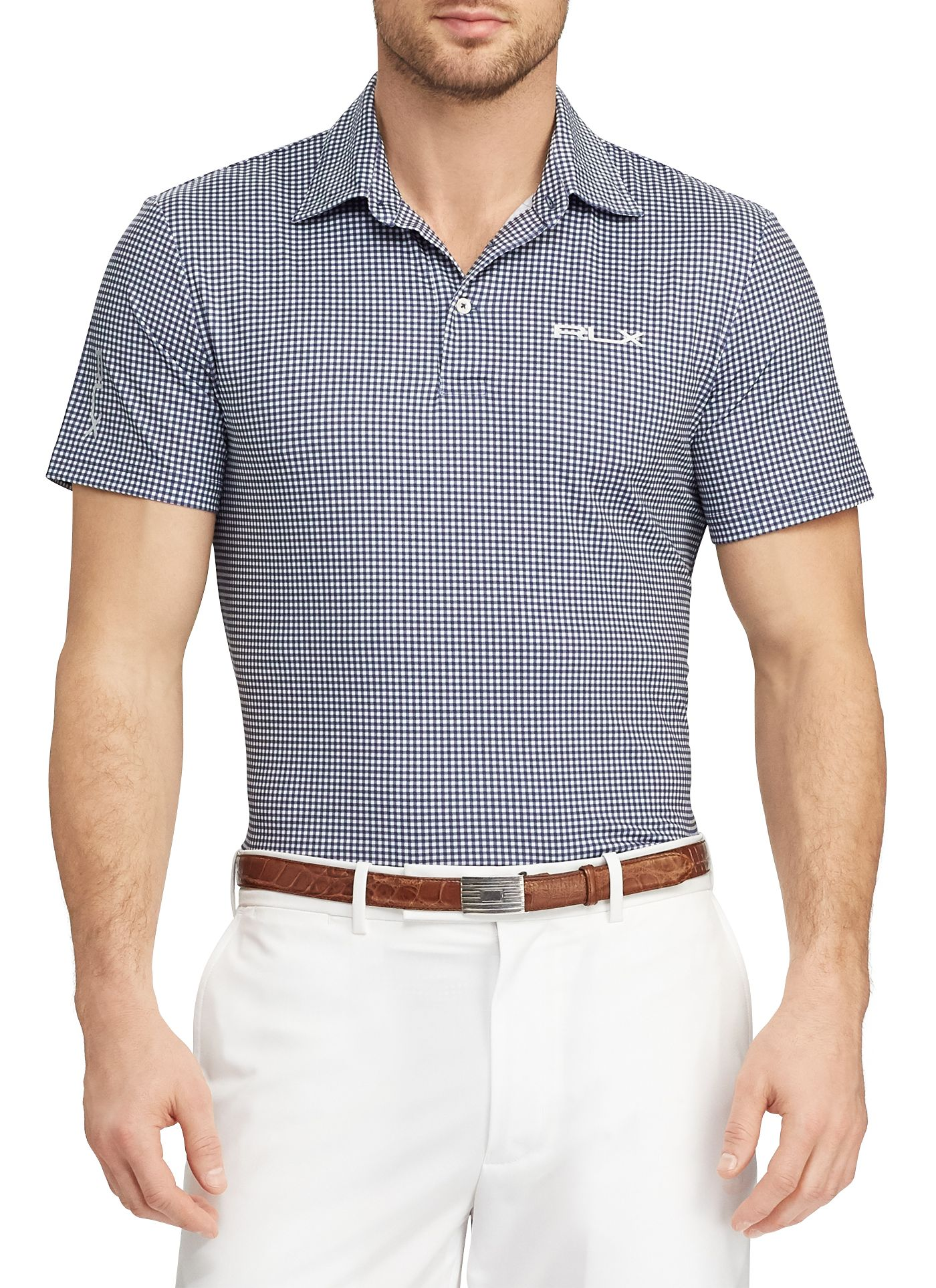 RLX Golf Men's Lightweight Gingham Golf Polo