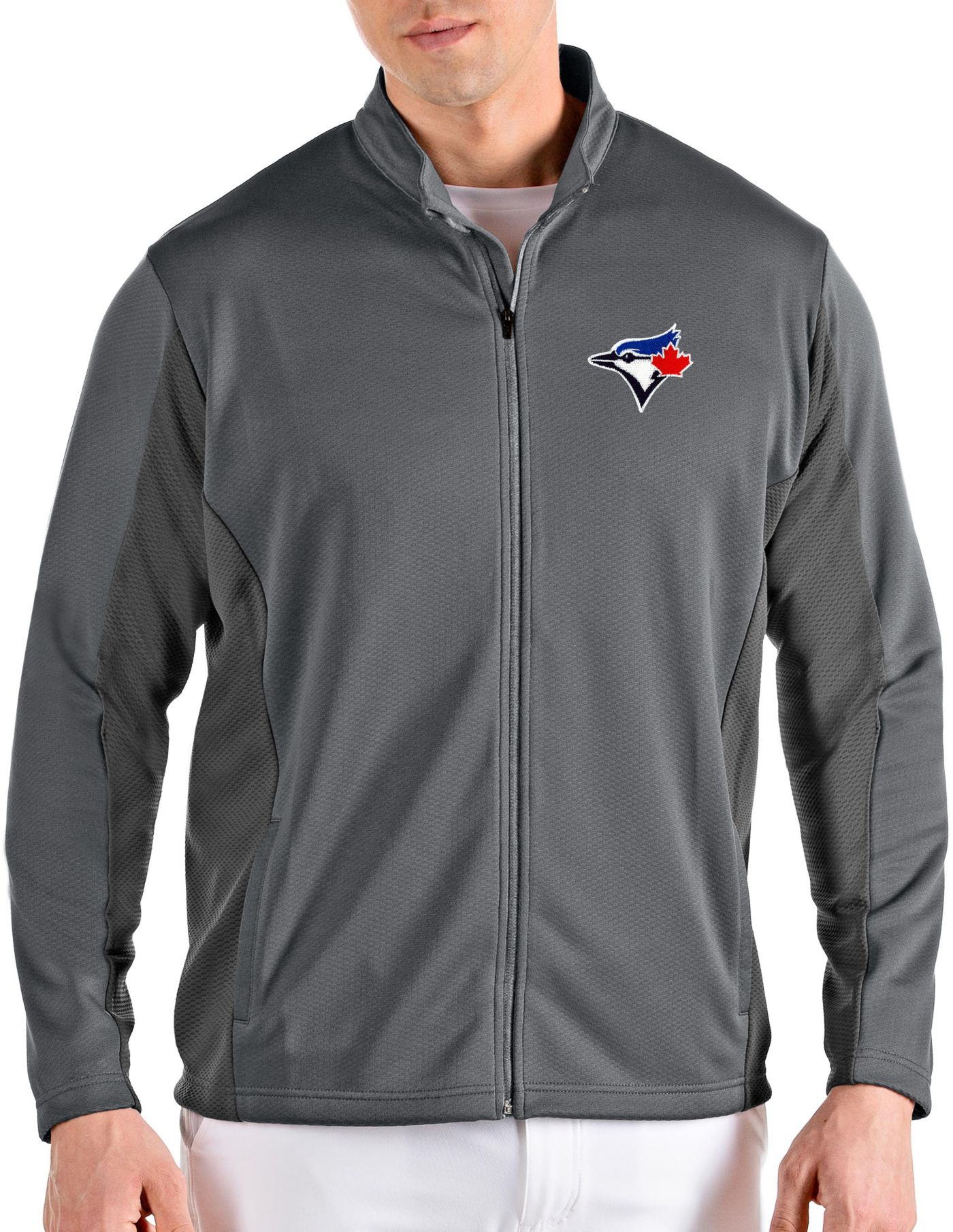 Antigua Men's Toronto Bluejays Grey Passage Full-Zip Jacket