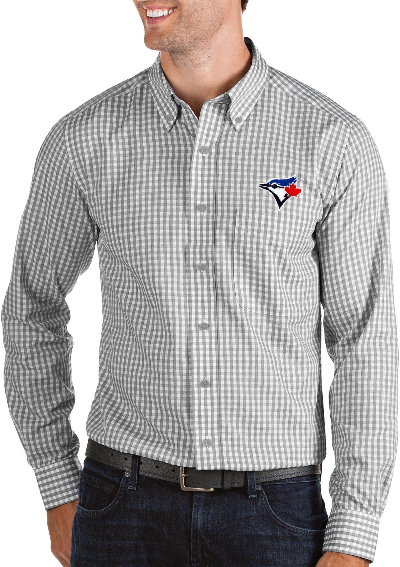 Antigua Men's Toronto Blue Jays Structure Button-Up Grey Long Sleeve Shirt