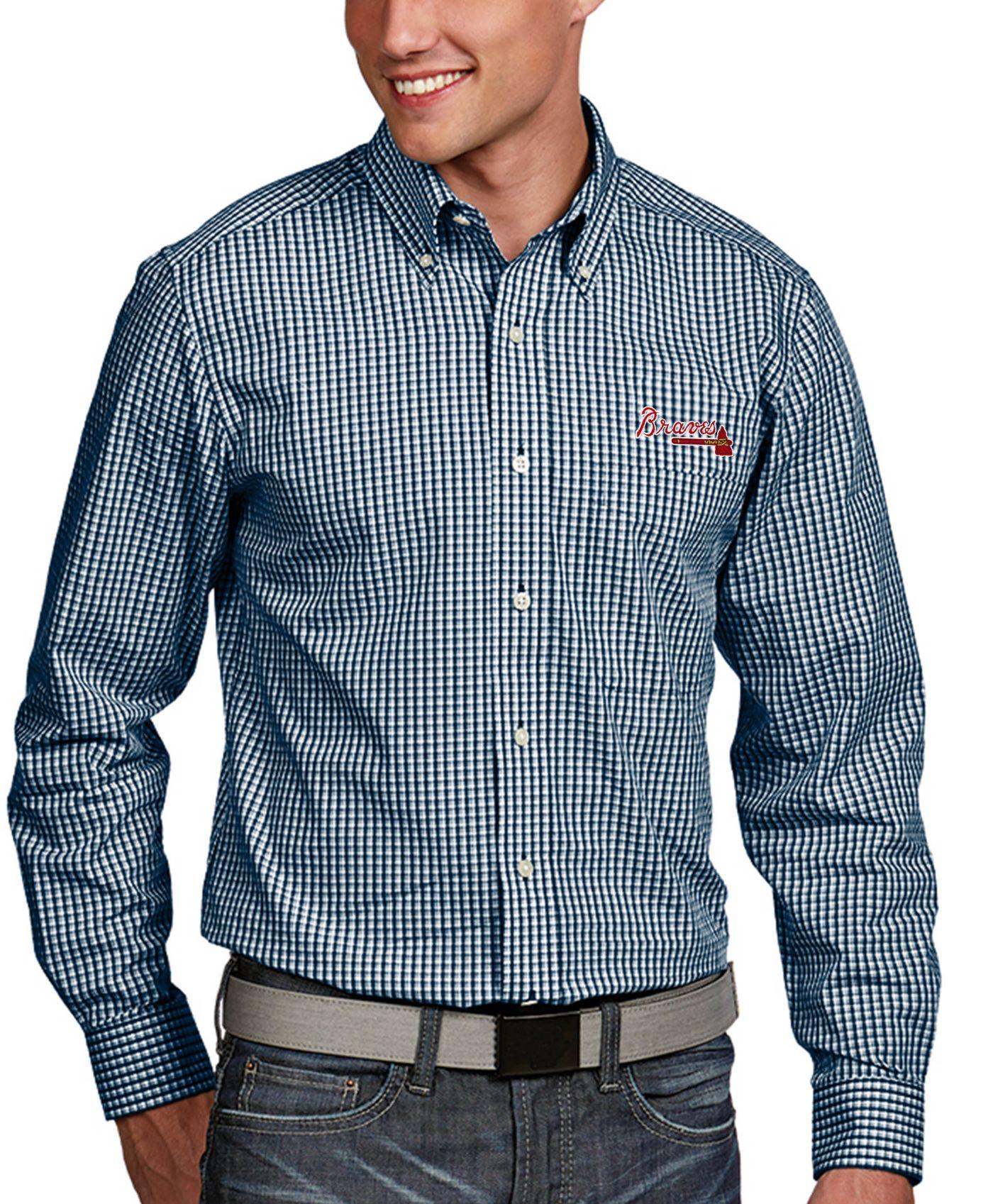 Antigua Men's Atlanta Braves Associate Button-Up Navy Long Sleeve Shirt