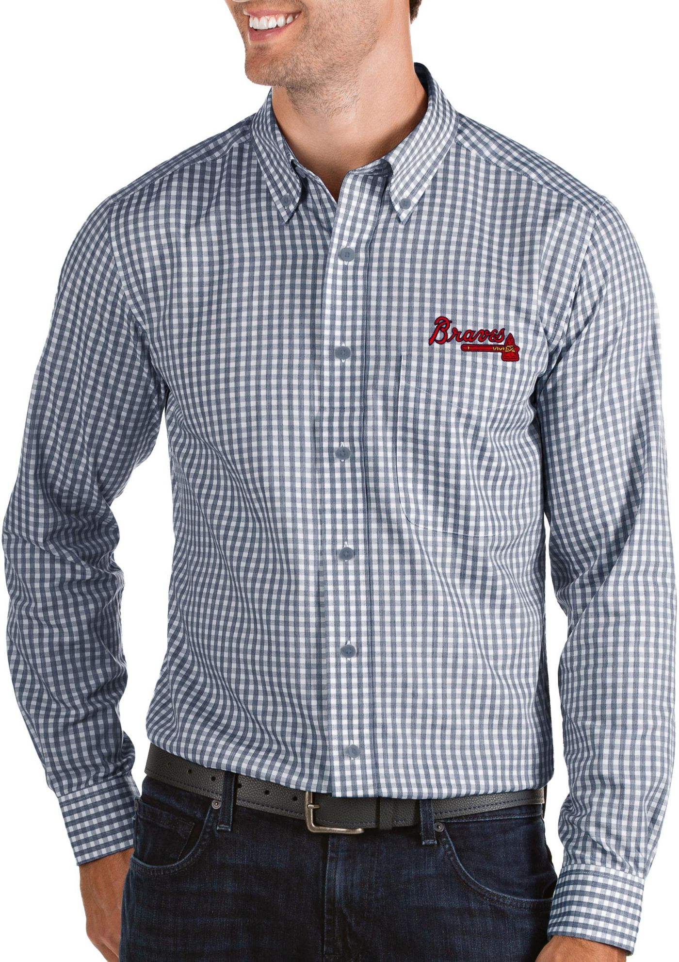 Antigua Men's Atlanta Braves Structure Button-Up Navy Long Sleeve Shirt
