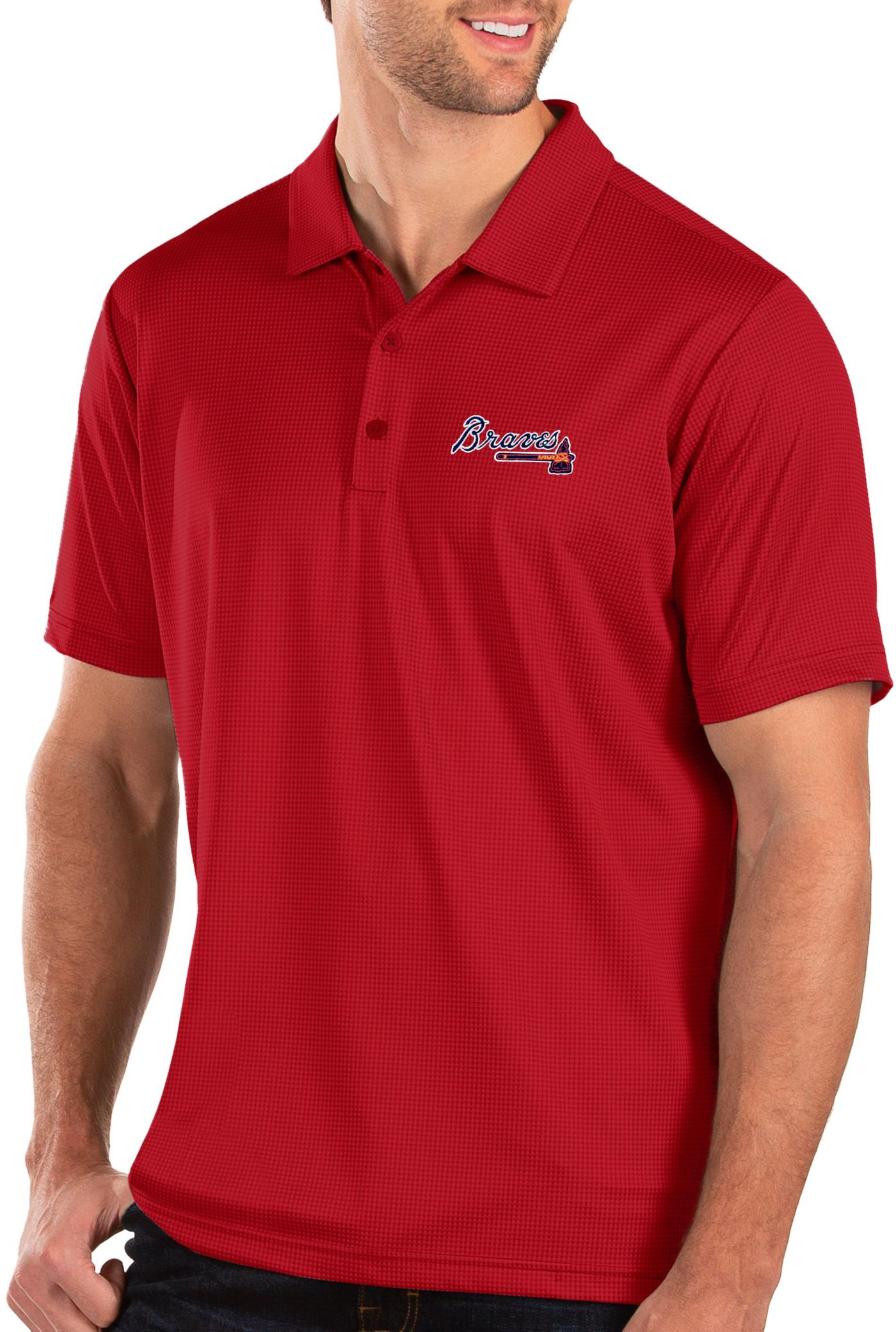 Antigua Men's Atlanta Braves Red Balance Polo