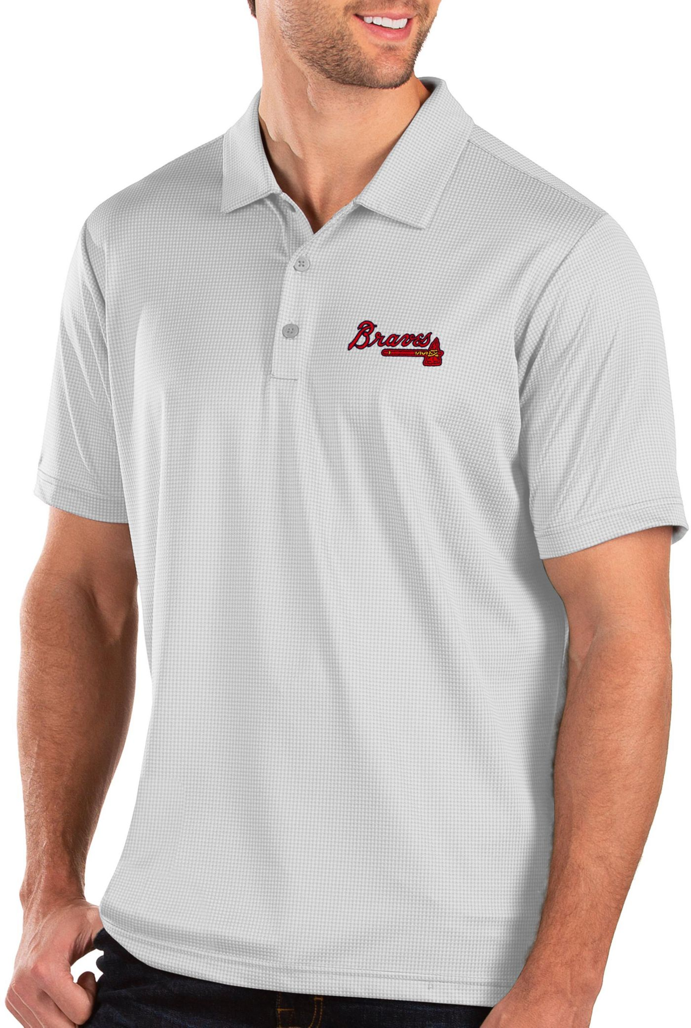 Antigua Men's Atlanta Braves White Balance Polo