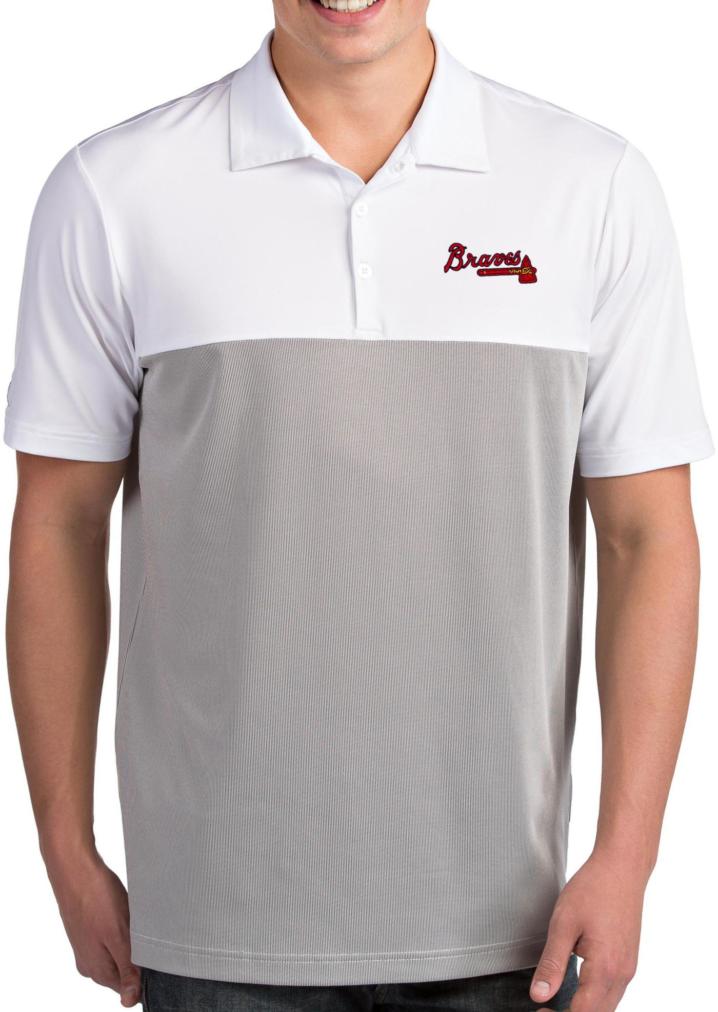 Antigua Men's Atlanta Braves Venture White Performance Polo