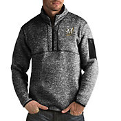 Antigua Men's Milwaukee Brewers Fortune Black Half-Zip Pullover