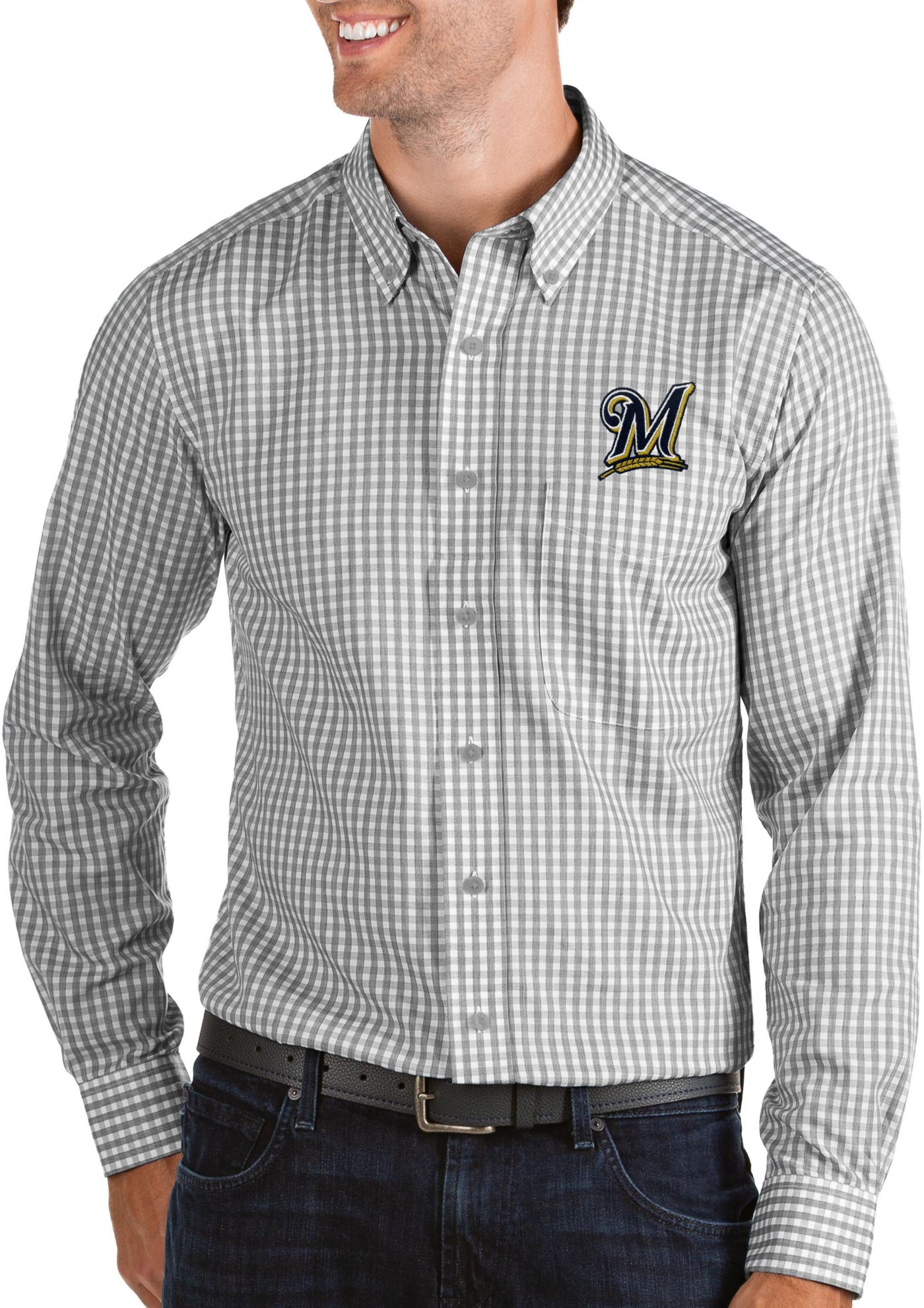 Antigua Men's Milwaukee Brewers Structure Button-Up Grey Long Sleeve Shirt