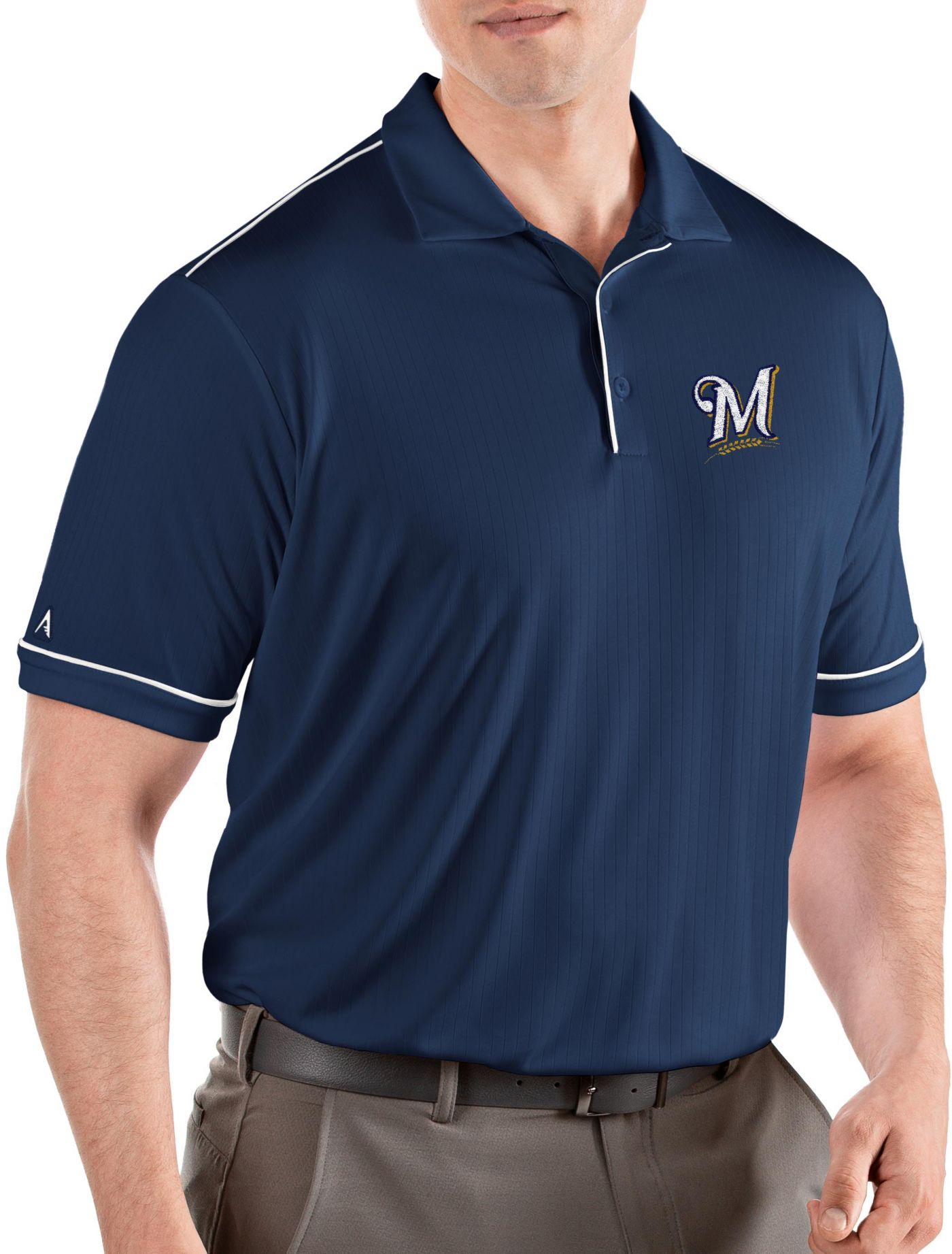 Antigua Men's Milwaukee Brewers Salute Navy Performance Polo