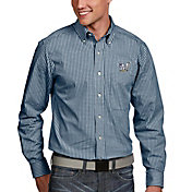 Antigua Men's Milwaukee Brewers Associate Button-Up Navy Long Sleeve Shirt