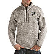 Antigua Men's Milwaukee Brewers Oatmeal Fortune Half-Zip Pullover