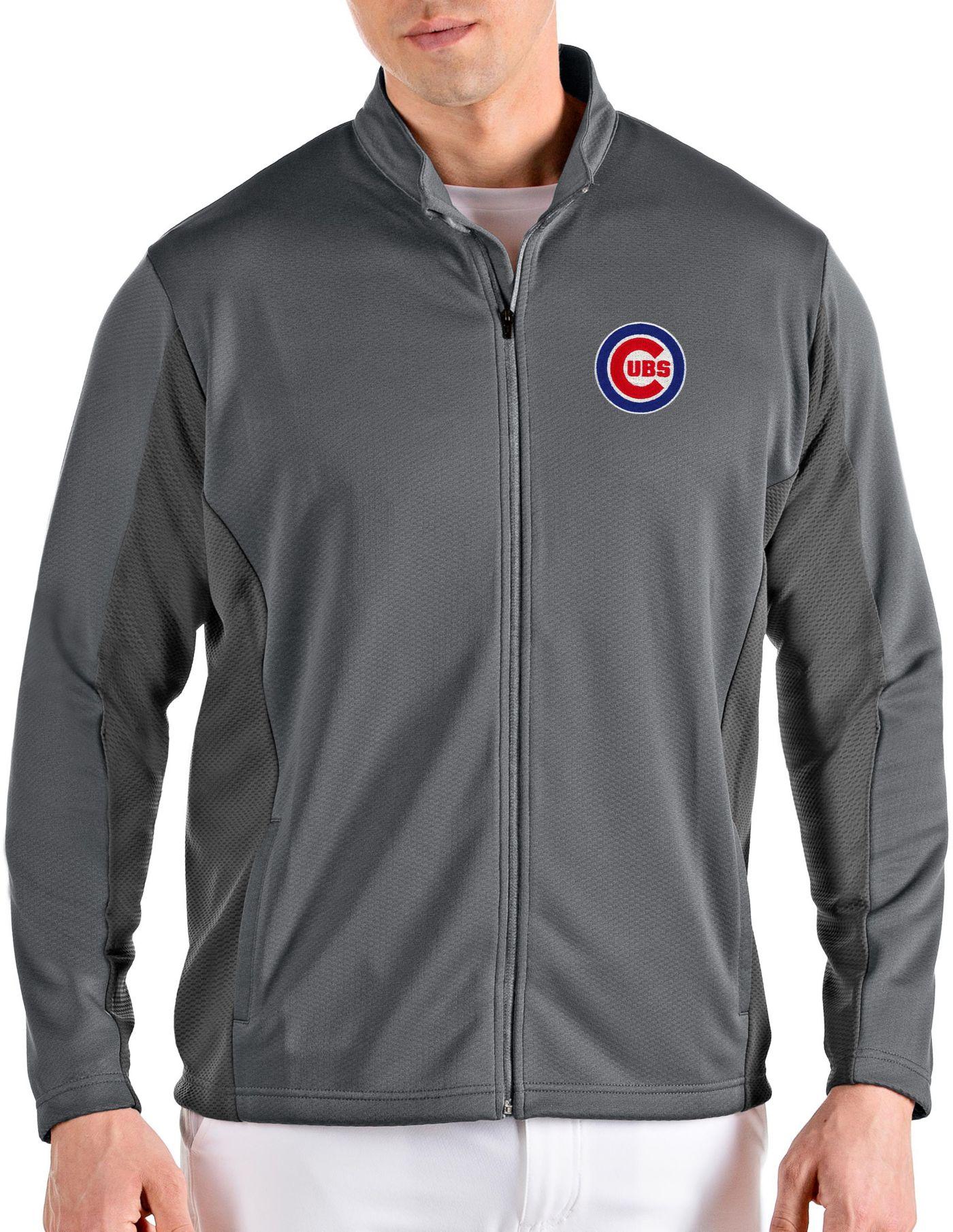 Antigua Men's Chicago Cubs Grey Passage Full-Zip Jacket