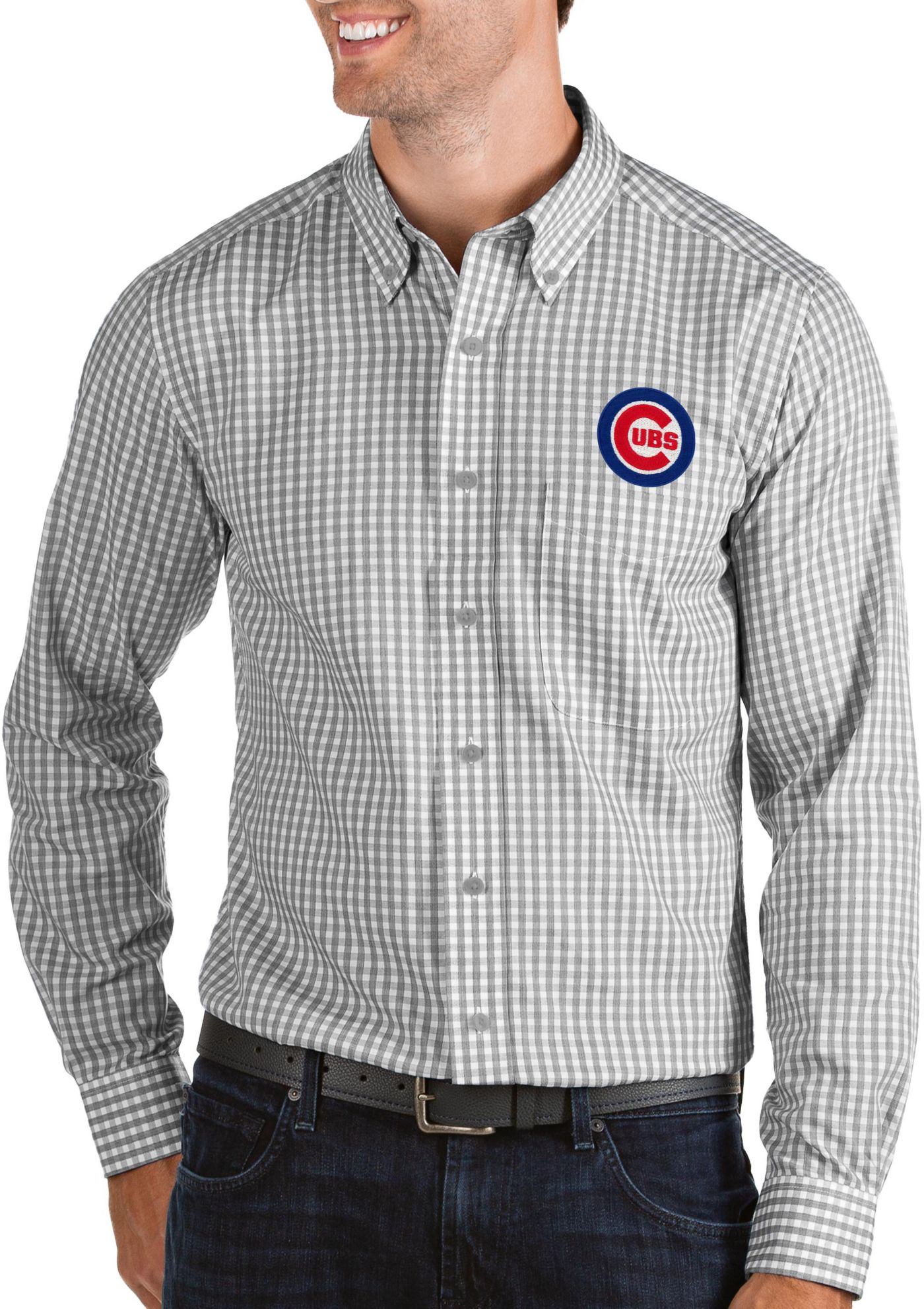 Antigua Men's Chicago Cubs Structure Button-Up Grey Long Sleeve Shirt
