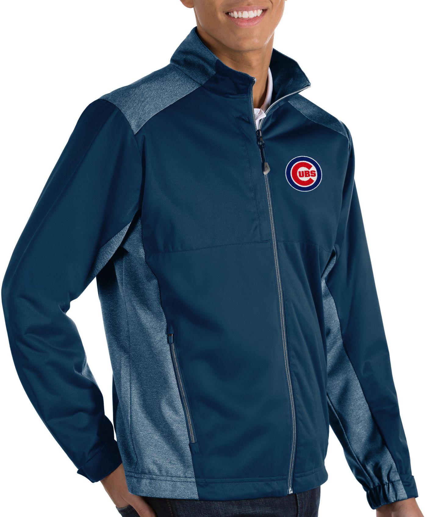 Antigua Men's Chicago Cubs Revolve Navy Full-Zip Jacket