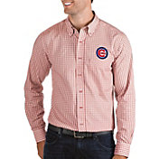 Antigua Men's Chicago Cubs Structure Red Long Sleeve Button Down Shirt