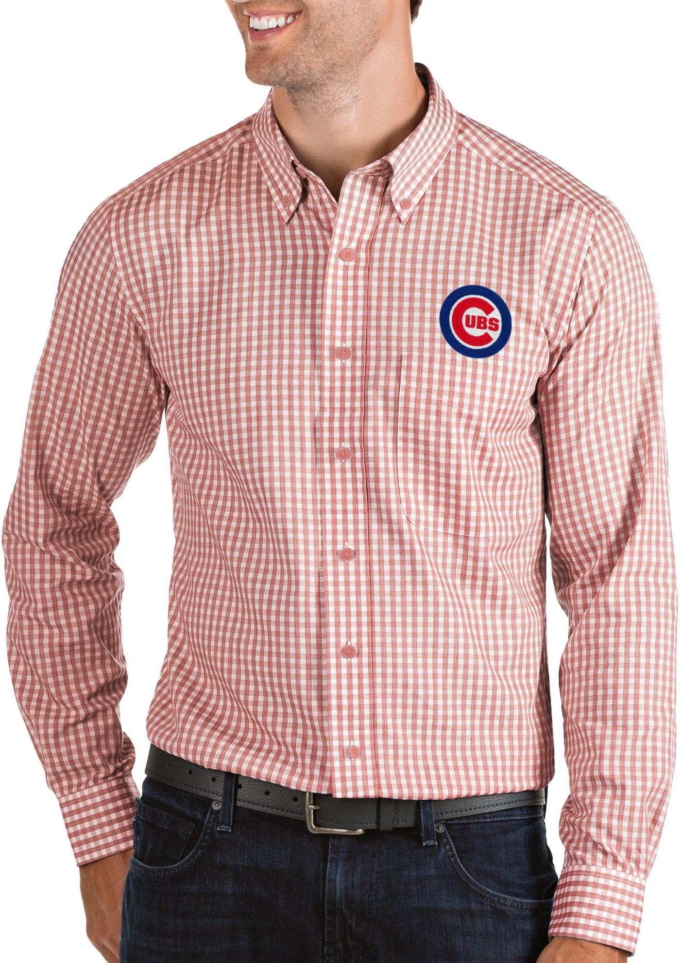 Antigua Men's Chicago Cubs Structure Button-Up Red Long Sleeve Shirt