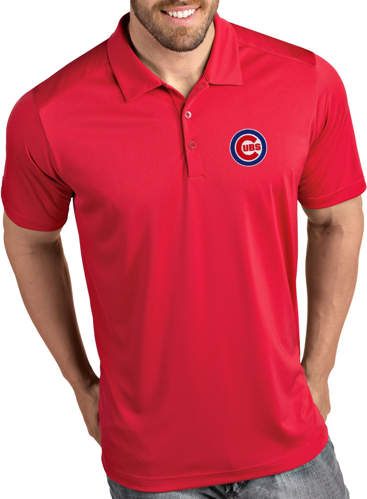 Antigua Men's Chicago Cubs Tribute Red Performance  Polo