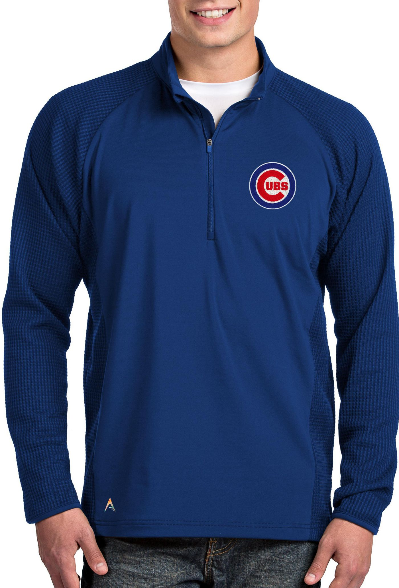 Antigua Men's Chicago Cubs Royal Sonar Performance Quarter-Zip Pullover
