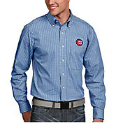 Antigua Men's Chicago Cubs Associate Royal Long Sleeve Button Down Shirt