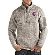 Antigua Men's Chicago Cubs Oatmeal Fortune Half-Zip Pullover